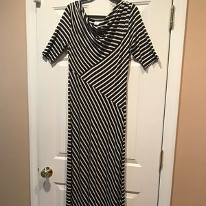 Maternity black and white striped long dress